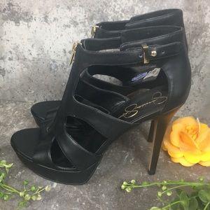 Jessica Simpson Black Zip Up Heels